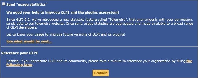 GLPI Usage statistics