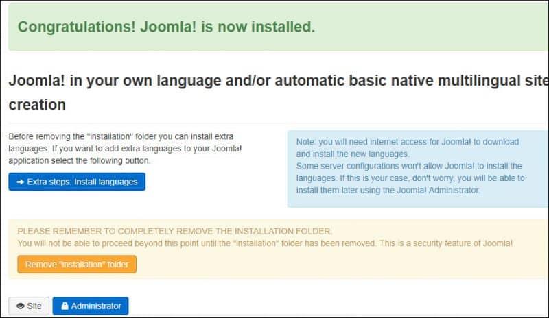 Joomla Installation Summary